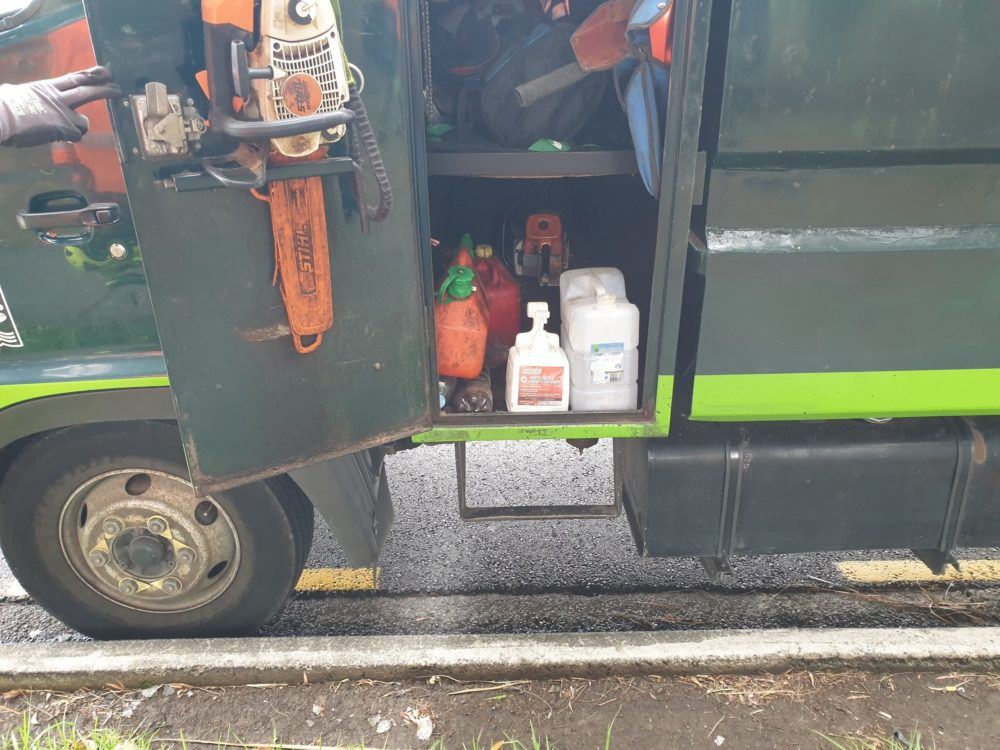 Soap and satitisers in the trucks